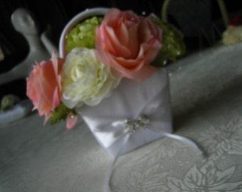 CHERISH Flowergirl Basket - White Satin with Roses, Crystal Embellishments and Rhinestone Crown Brooch