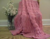 Rose Pink Ruffled Knitted Baby Blanket