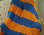 "Knitted Orange and Blue ""Team Spirit"" Afghan"
