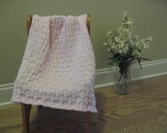 Pastel Pink Knitted Stroller Blanket
