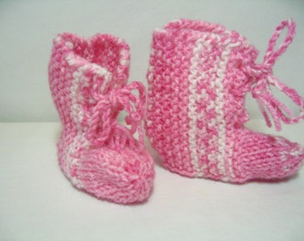 Pink and White Knitted Baby Booties