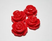 4 Red Rose Cabochons 23mm