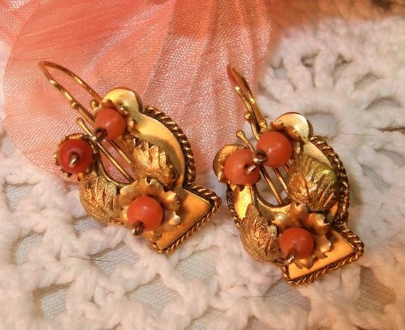 Victorian 9K Etruscan Revival Earrings
