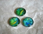 Glass Dome Magnets - Abstract Art Magnets - The Green Collection
