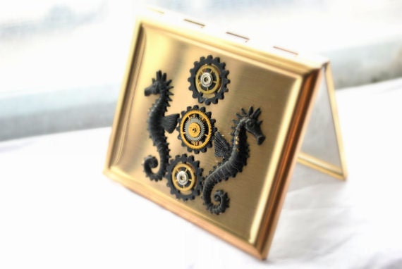 Steampunk Compact Mirror - Dual Glass Compact -  Seahorse - Gold Toned, Watch Gears, Watch faces, antiqued and upcycled watch pieces