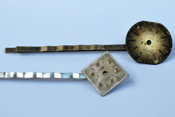 Watch Dial Barrettes - Steampunk Inspired Bobby Pins - Watch face, Dials, Brass & Silver settings