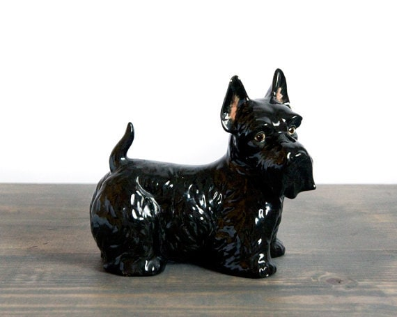 SALE Vintage Hand Painted Porcelain Scottish Terrier Dog Figure