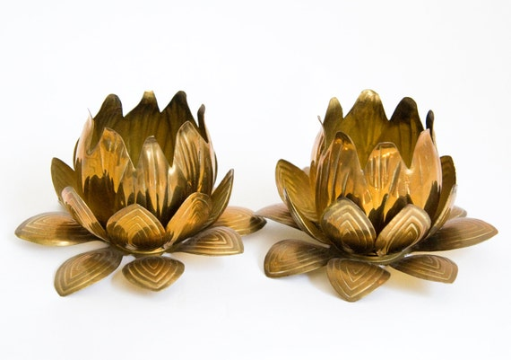 MCM Brass Lotus Candles from Neiman Marcus