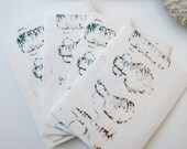 SET Abstract Cards: Amphora Pots contours set of 4 unique handprinted envelopes with blank inserts gift cards or gift enclosures
