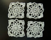 Vintage inspired silver grey crochet coasters
