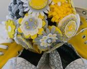 Custom embroidered felt bridal, bridesmaid, flower girl, wedding bouquet