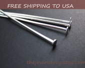 100pcs Antique Silver Flat Headpins,  42mm/1.7inch long, 21G thick,''''FREE SHIPPING to USA''''