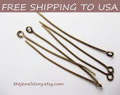 500 pcs Antique Bronze Eyepins, 0.7mm thick, 1.5inch (4.0cm) long, FREE SHIPPING to USA