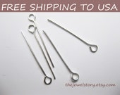 500 pcs Silver Eyepins, 0.7mm thick, app 1inch (2.4cm) long, FREE SHIPPING to USA
