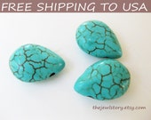 150 pcs Natural Howlite Turquoise Flat Briolette/Tear Drop Beads, FREE SHIPPING to USA