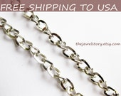 """32 ft spool Antique Silver Curb/ Side Twist chain 5x4mm, 0.9mm thick, """"""""Free Shipping to USA"""""""""""