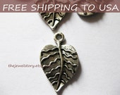 100 Pcs Antique silver Leaf pendant, 21x13x3mm, FREE SHIPPING within USA