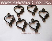 200 pcs Red Copper Heart Connectors/Links, 13x11x1mm thick, FREE SHIPPING to USA