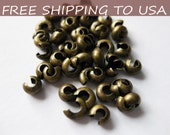 200pcs Antique Bronze Crimp Bead Covers, size 3mm wide, FREE SHIPPING to USA