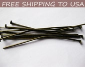 200pcs Antique Bronze Flat Headpins,  2 Inch long, 21G thick,''''FREE SHIPPING to USA''''