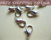 300pcs Lobster Claw Clasps, Silver Color, 8mm x 14mm x 1.2mm hole, FREE SHIPPING within USA