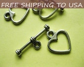 100sets Antique Silver Heart Toggle Clasps, 12x14mm, FREE SHIPPING to USA