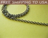 """50 ft spool Antique silver Round Cable chain Link:3x2x0.6mm, """"""""Free Shipping to USA"""""""""""