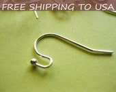 100pcs Silver Earring Hooks, 22x11mm, FREE SHIPPING within USA