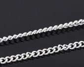 """50 ft spool Silver Curb/ Twist chain 3.7x2.5mm, 0.7mm thick, """"""""Free Shipping to USA"""""""""""