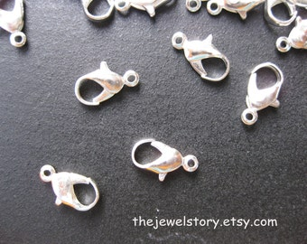 50 pcs Lobster Claw Clasps, Silver Color, 6mm x 12mm x 1.2mm hole, FREE SHIPPING within USA