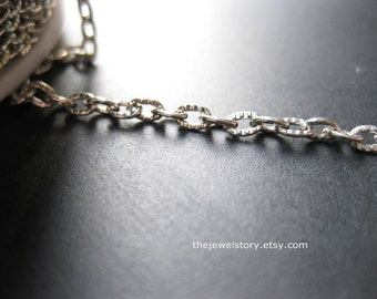 """Price Reduced, 50 ft spool Antique silver oval textured chain Link:4x3x1mm,""""""""Free Shipping to USA"""""""""""