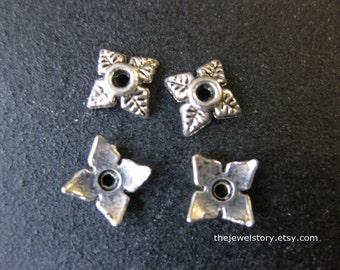 10 pcs Antique Silver Bead Cap, 6mm x 6mm x 2mm, hole: 2mm  - 201109c14
