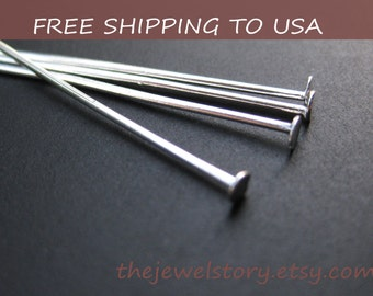 100pcs Silver Flat Headpins,  42mm/1.7inch long, 21G thick,''''FREE SHIPPING to USA''''