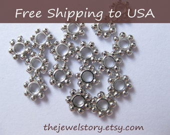 Daisy Silver spacer beads,4.5mm in diameter, 1mm thick, 200pcs, Free Shipping within USA