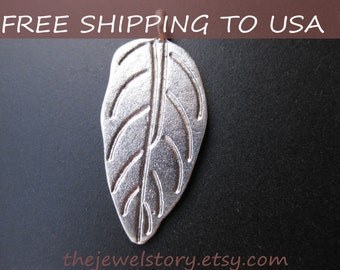 Antique Silver Pendant, Charm, Leaf, 13.5x30mm,50pcs, FREE SHIPPING within USA
