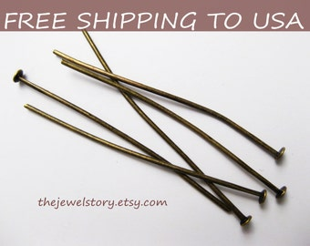 500pcs Antique Bronze headpins, 1.5inch(4.0cm) long, 0.7mm thick, FREE SHIPPING to USA