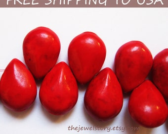 25 pcs Synthetical Howlite Red Briolette/Tear Drop Beads, 10x14x5mm, FREE SHIPPING to USA
