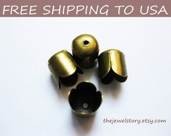 50 pcs Antique Bronze bead caps, 6.5x8mm, FREE SHIPPING to USA