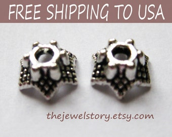 500pcs Antique Silver Bead Caps, size 7x4mm, FREE SHIPPING to USA
