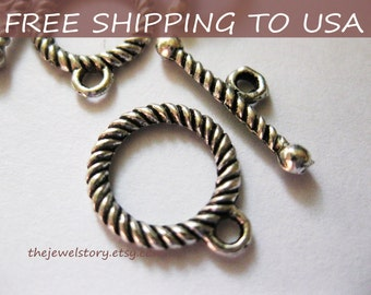 25 sets Antique Silver Toggle Clasps - 10mm, FREE SHIPPING within USA