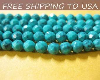 16 inch Synthetic Turquoise bead strand,Faceted Round, Cadet Blue, 4mm, FREE SHIPPING to USA