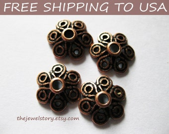 200pcs Red Copper Bead Caps, size 12.5x12.5x4mm thick, FREE SHIPPING to USA