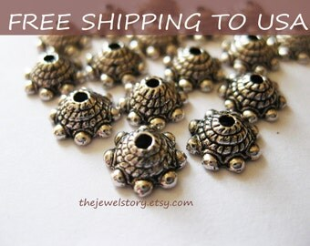 200 pcs  Antique Silver bead caps, 9x3.5mm, FREE SHIPPING within USA