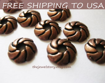50pcs Red Copper Bead Caps, size 9x2mm thick, FREE SHIPPING to USA