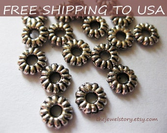 200 pcs Antique Silver Spacer Beads, Round, 6.5mm, FREE SHIPPING to USA