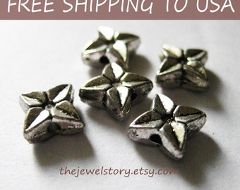 50 pcs Antique Silver Spacer Beads, Flower, 9.5mm, FREE SHIPPING to USA