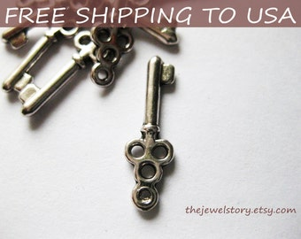 25 Pcs Antique silver Key pendant, 21.5x7mm, FREE SHIPPING within USA