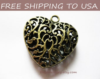 2 Pcs Large Antique Bronze Heart Filigree Pendant, 35x34.5x11mm, FREE SHIPPING within USA