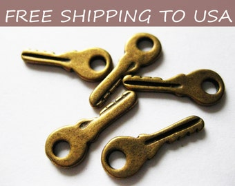 25 Pcs Antique Bronze Key Pendant, 19x7x1mm, FREE SHIPPING within USA