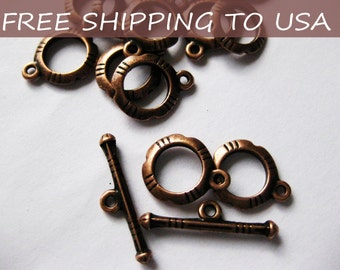 20sets Red Copper Toggle Clasps - 12x14.5mm, FREE SHIPPING within USA